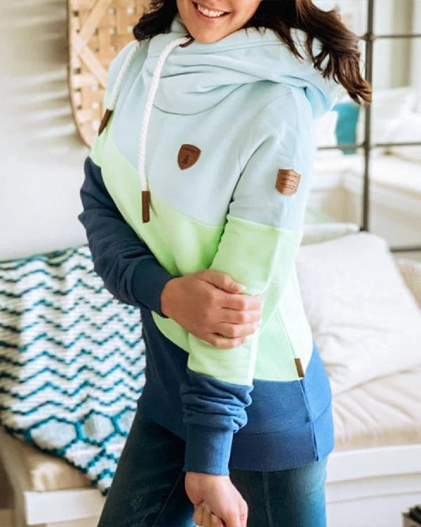 Blue Hoodie Paneled Long Sleeve Solid Sweatshirt