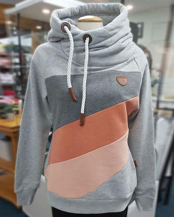 Hooded Color-block Long Sleeve Sweatshirt