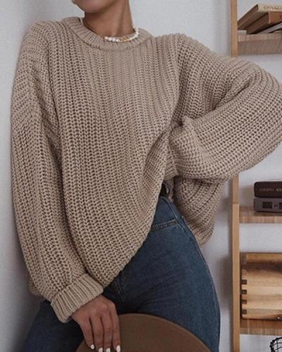 Fashion Casual Long Sleeve Solid Color Round Neck Sweater