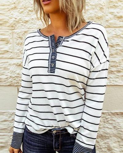 Round Neck Stripes Cotton-Blend Casual Sweatshirt