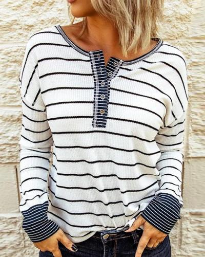 Round Neck Stripes Cotton-Blend Casual Sweatshirt