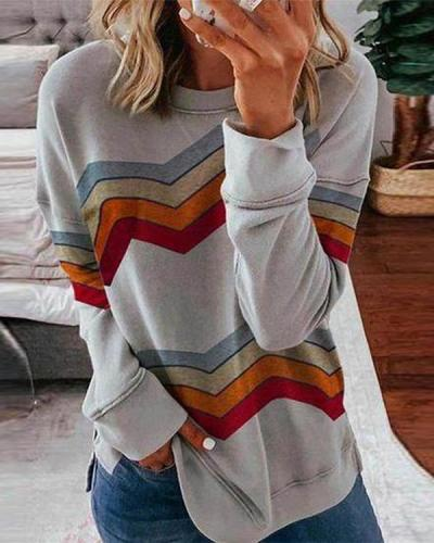 Color Block Random Stripe Round Neck Long Sleeve Tops