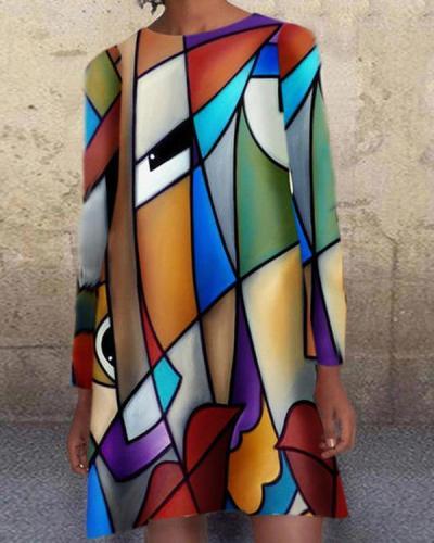 Women's Print Viange Mini Dress