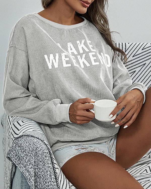 Women's Fashion Corduroy Crew Neck Solid/Print Pullover Sweatshirt