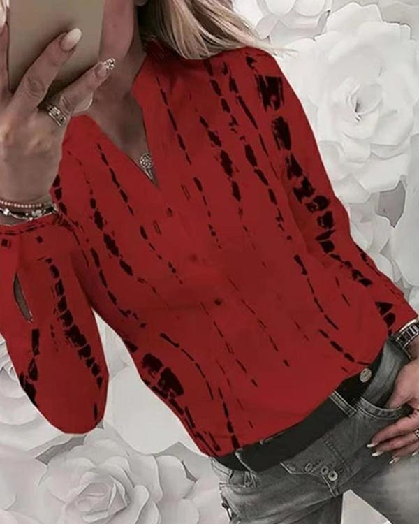 Stand Collar Printed Long Sleeve Shirt
