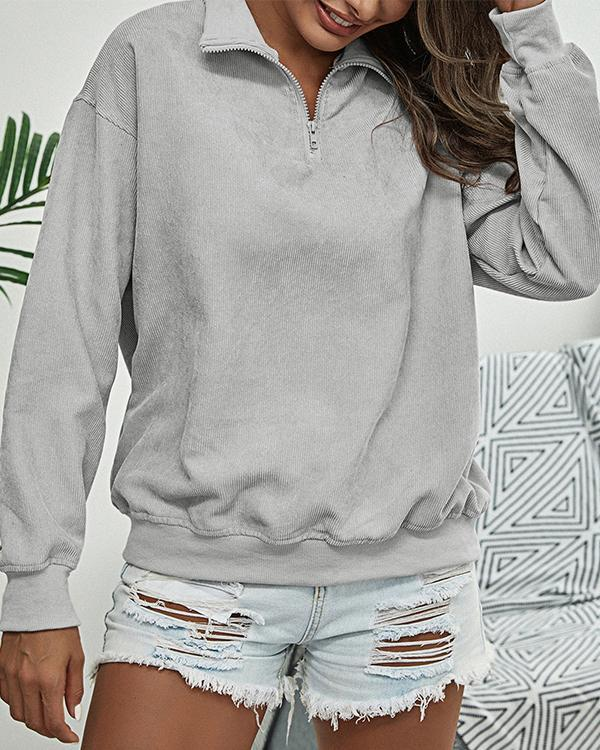 Women's Fashion Corduroy Stand Collar Zipper Pullover Sweatshirt