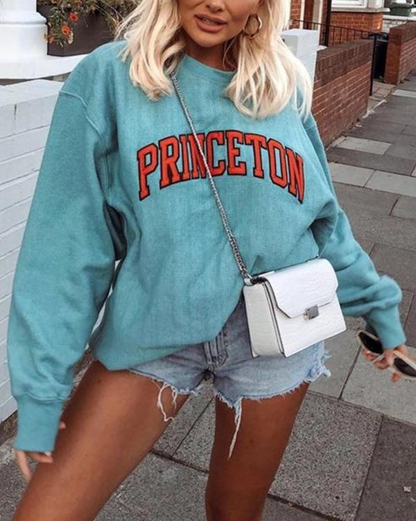 Women's Fashion Fleece Sweatshirt Letter Print Oversize Pullover