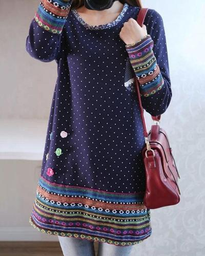 Navy Blue Long Sleeve Pockets Printed Plus Size T-Shirt Dress