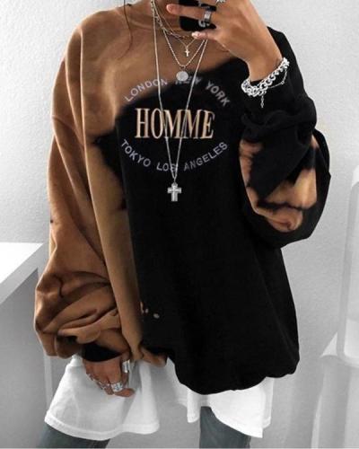 Women's Fashion Tie Dye Sweatshirt Letter Print Oversize Pullover