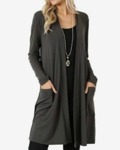 Cotton Blend Long Sleeve Collarless Pockets Blanket Coats