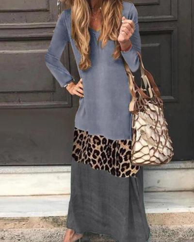 Plus Size Print/Leopard Long Sleeves Shift Casual Maxi Dresses