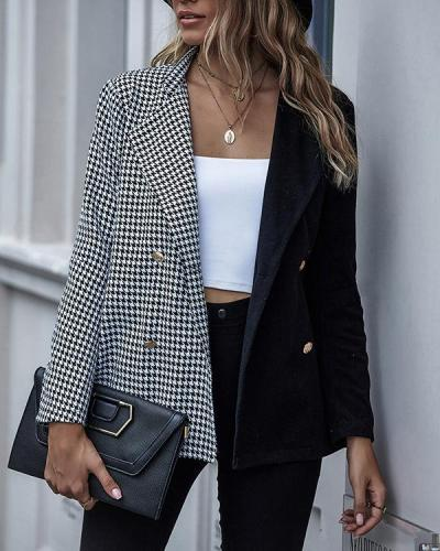 Fashion Color Contrast Houndstooth Long Sleeve Button Blazer
