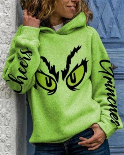 Printed Hooded Long Sleeve Sweatshirt