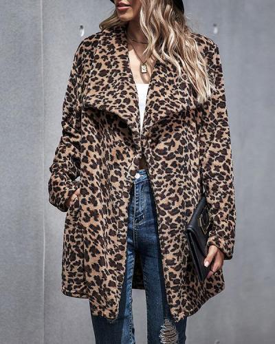 Leopard Pattern Lapel Fur Coat