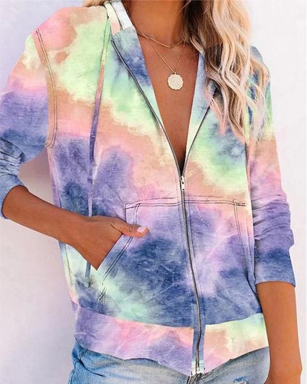 Zipper Tie-dye Print Hoodie Sweatshirt