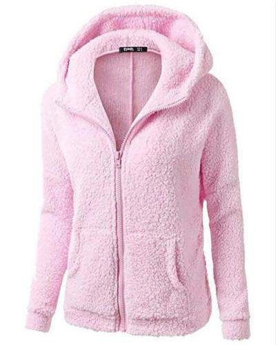 Warm Long Coat Fur Collar Hooded Sweater Zipper Jacket Winter Outwear