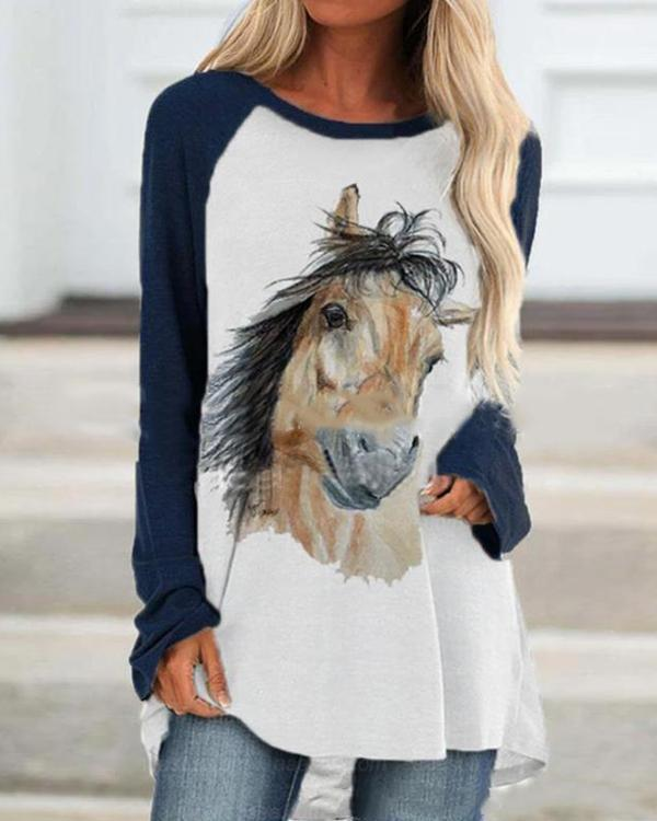 Horse Printed Casual Round Neckline Long Sleeve Blouses