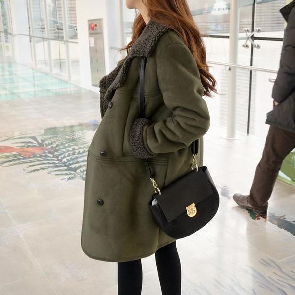 Women Plus Size Lapel Solid Long Sleeve Pockets Coat