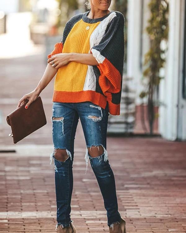 Loose Color Matching Sweater