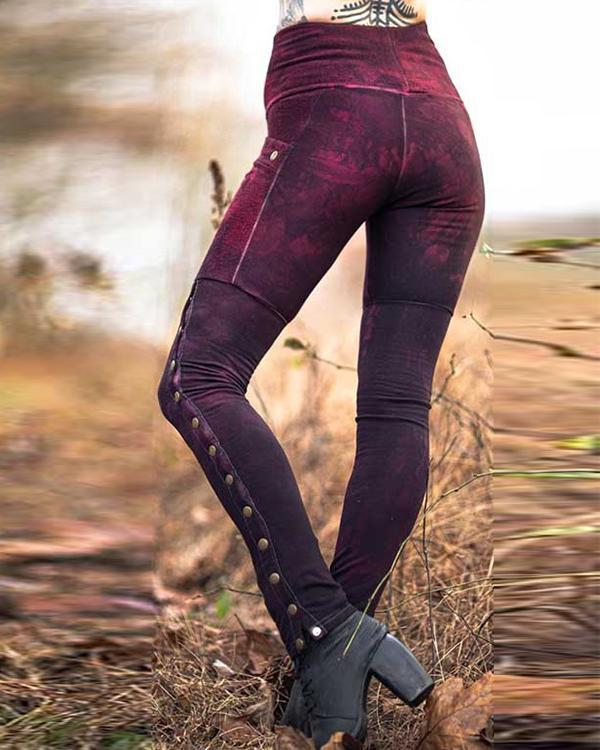 Women's Burgundy Soldier Leggings