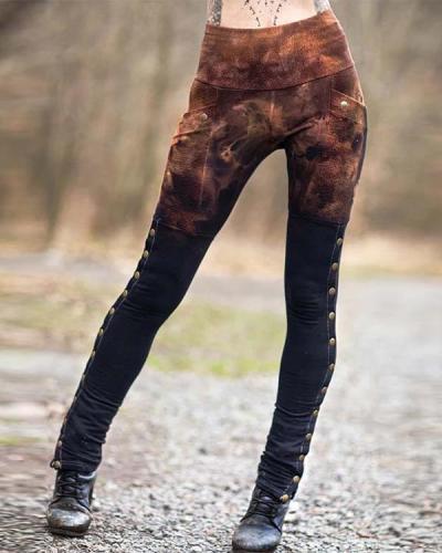 Women's Retro Gradient Pocket Leggings