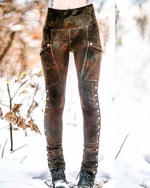 Women's Casual Button Retro Leggings