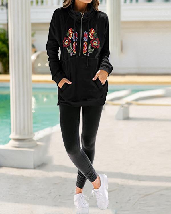 Flower Embroidery Half Zipper Stand Collar Pocket Sweatshirt