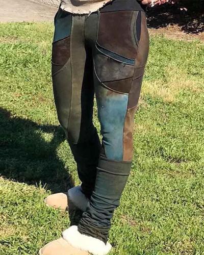 Women's Pocket Colorblock Casual Pants