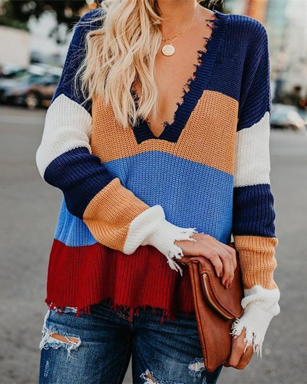 Fashion Rainbow V-Neck Outerwear Sweater