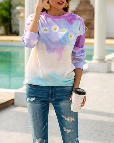 Daisy Print Tie-dye Loose T-shirt