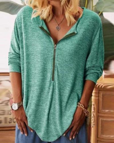 Women Zipper V Neck Long Sleeve Solid Loose Blouses