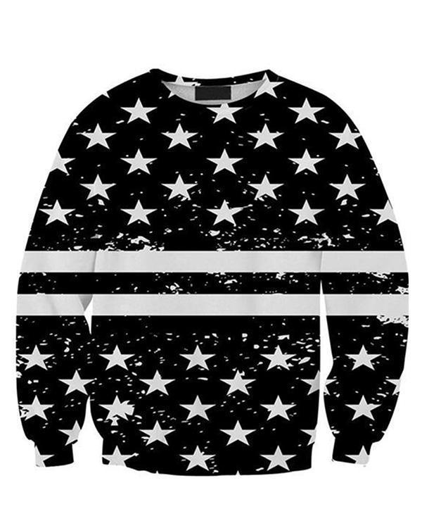 Star Printed Long Sleeve Shift Shirts & Tops