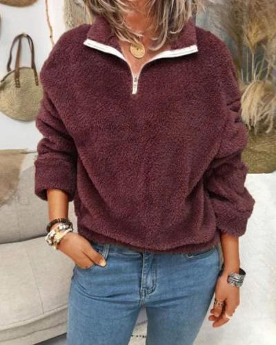 Plus Size Solid Polar Fleece Zipper Sweatshirt For Women