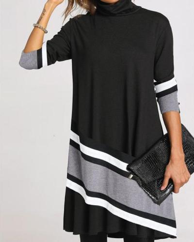 Casual Plus Size Color Block/Floral Tunic High Neckline Shift Dress