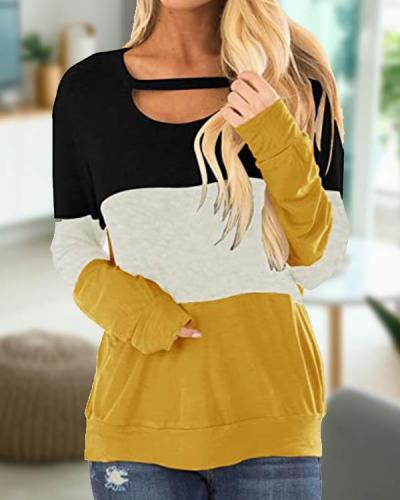 Women's Color Block Chest Cutout Tunics Long Sleeve Shirts