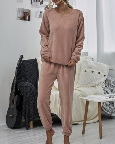 Women Solid Color Long Sleeve Loungewear
