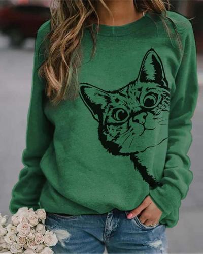 Animal Printed Crew Neck Long Sleeve Daily Sweatshirt