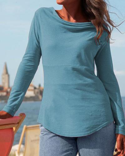 Women Solid Color Long Sleeve Tops