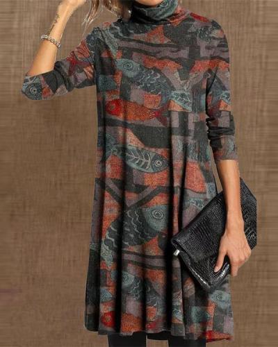 Large size Multicolor Long Sleeve Dresses
