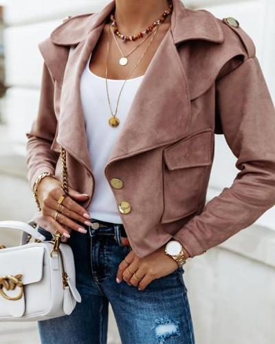 Women Fashion Lapel Collar Button Short Jackets