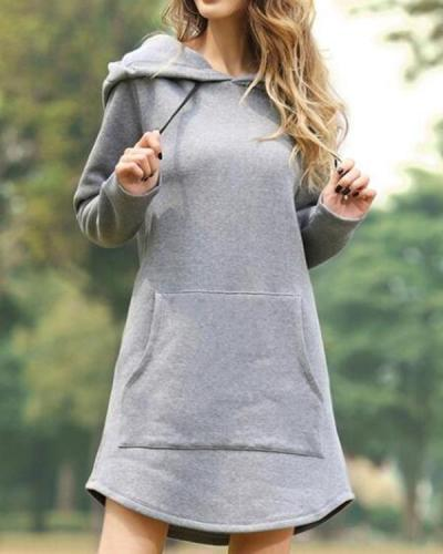 Casual Solid Shirt Round Neckline Shift Dress