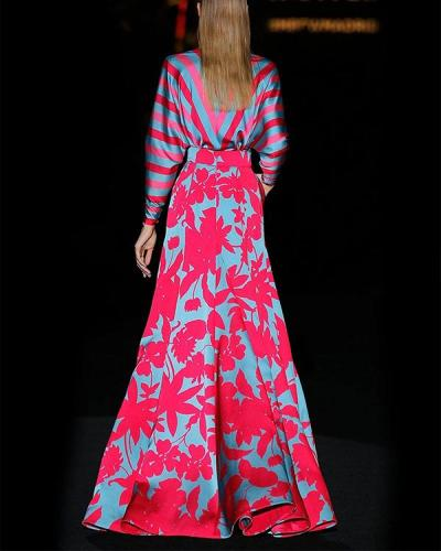 Women V-neck Elegant Boho Print Maxi Dress