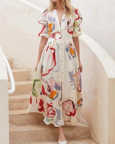 Casual Floral Print Puff Sleeve A-Line Holiday Maxi Dress