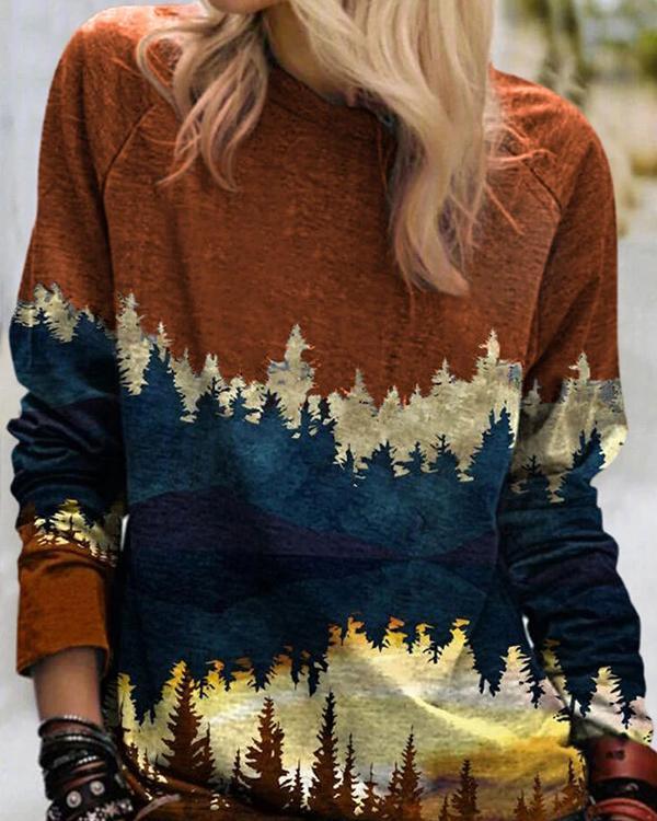 Landscape Print Casual O-neck Long Sleeve Cashmere T-Shirt