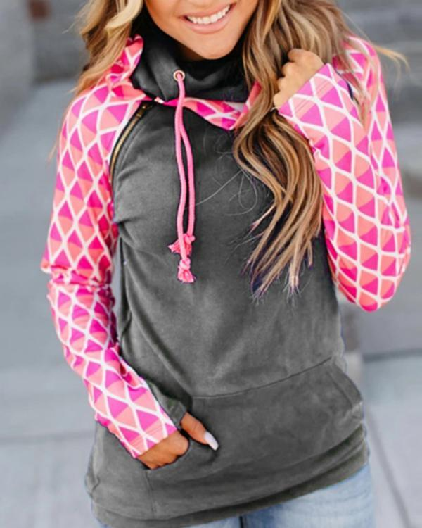 Casual Long Sleeve Color-block Sweatshirt
