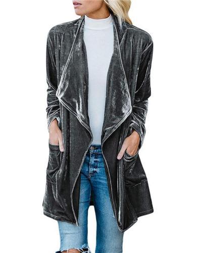 Pleuche Longs Wind Coat Women Fall Solid Fashionable Outwear Coat