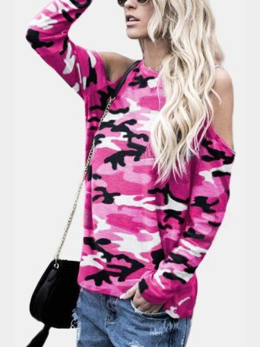 Camouflage Round Neck Cold Shoulder Long Sleeves Tshirts