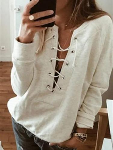 Plain Casual Eyelet V Neck 2018 Women's Fall/Autumn Sweatshirts