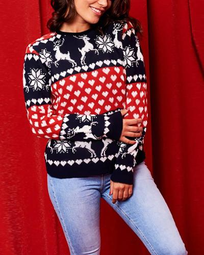 Christmas Printed Polyester Crew Neck T-shirts