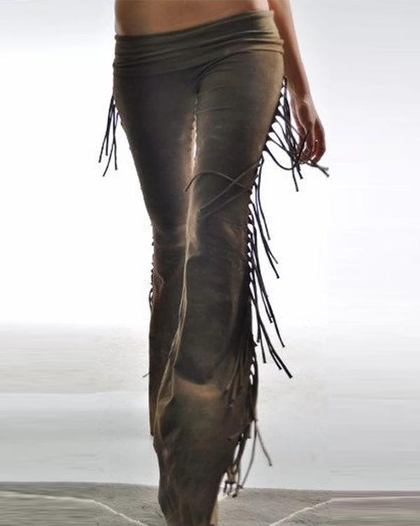 Women Vintage Solid Color Tassel Pants